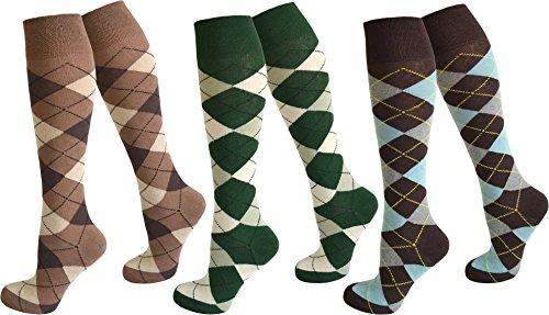 normani 3 Paar Kniestrümpfe für Teenager und Damen im Karo Design Farbe Farbset3 Größe 35-38 (Reiten Damen Kostüm)