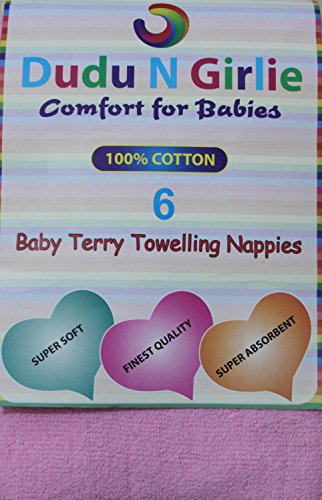 Dudu-N-Girlie-Baby-Terry-Towelling-100-Cotton-Nappies-Pink-Pack-of-6