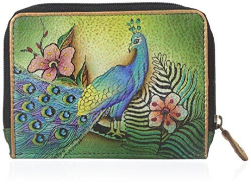 Anuschka Handgemalte Luxus - 1124 Leder mit Rundum-Reißverschluss Kreditkarte  Fall (Leidenschaftliche Peacocks) (Anuschka Geldbörse)