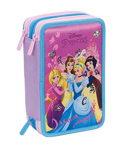 Astuccio 3 zip disney , princess dreamy dress , rosa , con contenuto: matite, pennarelli ...