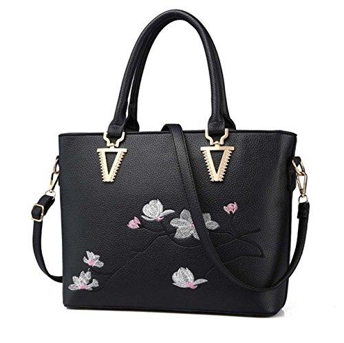 La borsa multifunzionale della borsa della spalla della borsa della donna ha ricamato la grande capacità per le donne Black