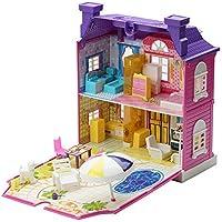 Preisvergleich für Ballylelly Puppenhaus mit Möbel Miniatur Haus Dollhouse Montage Spielzeug für Kinder (Farbe: lila)