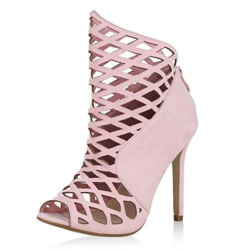 SCARPE VITA Damen Schaftsandaletten Cut Out Sandaletten Stiletto High Heels 163984 Rosa 37 Cut Out Stiletto