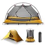 Campingliege Wasserdichtes Zelt mit,OUTAD 7001 Luftfahrt Aluminium 20D Super leichter Campingbett Multifunktions Aus-Boden Wurfzelt,2600G (Außenzelt + Innenzelt 1 Personen)