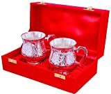 #6: NirvanaCraftVilla Handmade Silver Plated Beautiful 2 Tea Cup With Beautiful red box can be used for gifting purpose diwali wedding anniversary gifts.