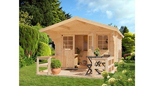 LUOMAN Gartenhaus Lillevilla 265GRT, BxT: 360x360 cm, mit Terrasse (ca. 360 cm breit) Natur