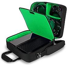 Funda Bolsa de Transporte de Consolas | Maletín Protector con Correa y Compartimentos Customizables para Videojuegos por USA GEAR | Para Videoconsolas PlayStation PS4 Pro Xbox One S Nintendo Wii U y más