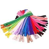 50x Chytaii Fermeture Eclair Tirette Zip Accessoire de Couture Mercerie en Nylon Multicolore...