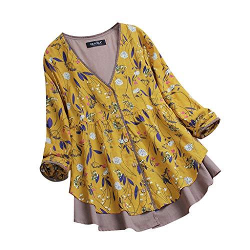 iHENGH Damen Herbst Winter Bequem Mantel Lässig Mode Jacke Frauen geschichtet Floral Print Patchwork Vintage Bluse leicht Spitzen Tops zu ()