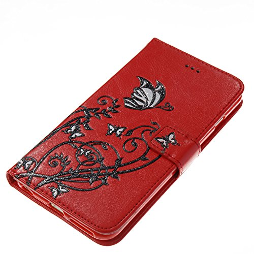 Color Printing Embossing Blumen Muster PU Leder Geldbörse Case Cover Tasche [Magnetverschluss] mit Card Slots & Lanyard & Halter & Kickstand Für iPhone 6 Plus & 6s Plus ( Color : Pink ) Red