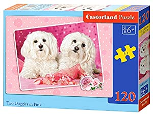 CASTORLAND Two Doggies in Pink 120 pcs Puzzle - Rompecabezas (Puzzle Rompecabezas, Fauna, Niños, Perro, Niño/niña, Interior)