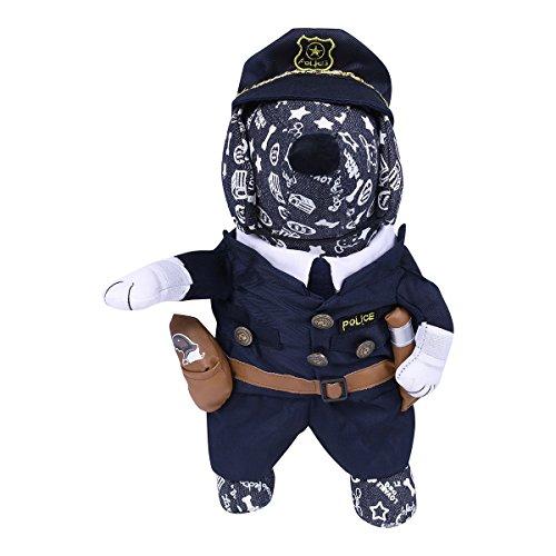 Samojede Kostüm (YiZYiF Haustier Katze Hund Kleidung Kostüm Kleid Polizei Anzug Kleidung Cosplay Kostüm Partei Bekleidung mit Hut Marineblau)