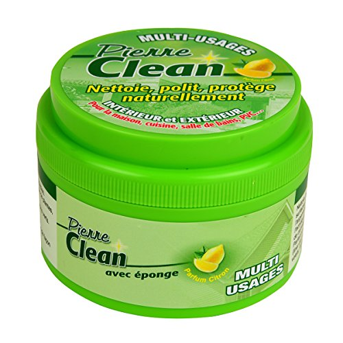 Pierre Clean 600G aroma limón con esponja-Producto a base de arcilla, appelé aussi Pierre rénovante o piedra de barro, que permite de limpiar, pulir, proteger NATURELLEMENT tu interior y exterior.