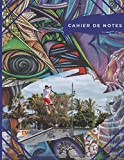 Cahier de notes: Trottinette tricks au skatepark  | Photos de sauts en trottinette sur fond graffity | cahier de note multicolor pour riders (Trottinette Freestyle)...