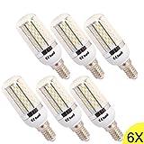6X 8W E14 Sockel 120X3014 SMD LED Warmweiss LED Lampe Leuchtmittel Mais plus Blende 750-800 Lumens 360 Abstrahlwinkel AC200-240V