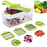 Vegetable Chopper Veggie Fruit Dicer - Syolee Food Cutter with 3 Interchangeable Blades, Food Container, Cleaning Brush Perfect for Potato Tomato Onion Carrot Salad Cucumber