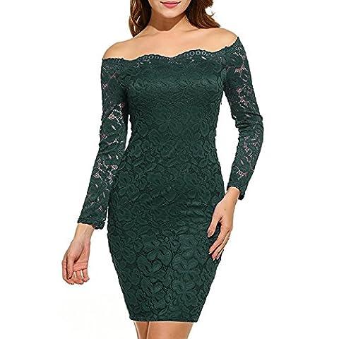 QQI Women Off-Shoulder 3/4 Sleeve Short Lace Dress Long Sleeve Cocktail Party Dress Bodycon Slim Mini Dress Party Dress (Tag Size XL (UK 18 - 20 ),