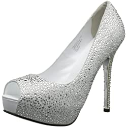 Pleaser Women s Prestige-16 WS Peep-Toe Pump White Suede 5 B(M) US