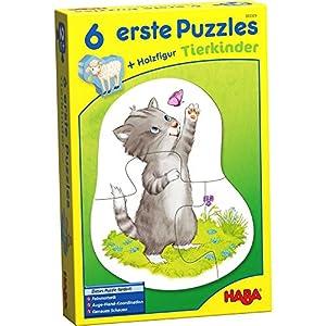 HABA 303309-Puzzles 6Primera, Animales niños, Juego