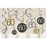 Amscan Pendant Tourbillon Décorations Valeur Pack DE 12 Feuille 60th Anniversaire Tourbillon Noir / Brillant Doré