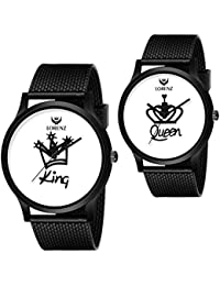 LORENZ King Queen Couple Analogue White Dial Men's and Women's Watch Combo