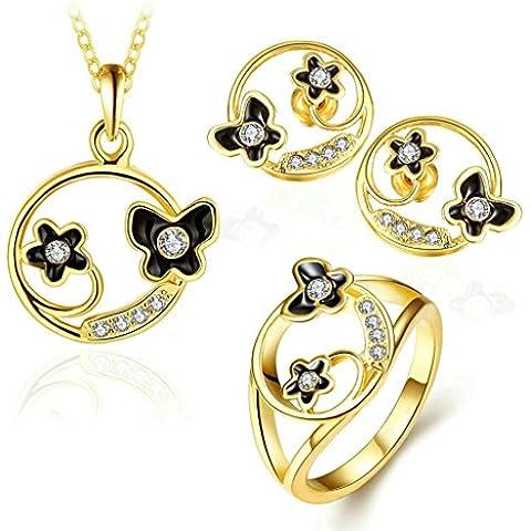 Gnzoe Gioielli Placcato oro Donna Anello Dimensioni 17 Orecchini Collane Bracelet Cristallo Intarsiato CZ Parure di Gioielli