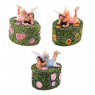 Cute Flower Fairy Oval Leaf Trinket Box