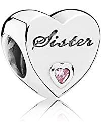 Pandora Sister's Love Silver Charm with Pink Cubic Zirconia 791946PCZ