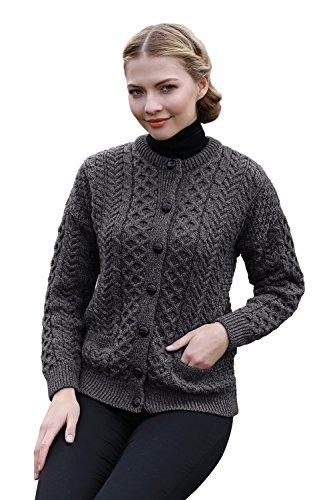 Arran Woolen Mills Irischer Wollfäller-Cardigan-Pullover aus Wolle (Holzkohle, L) -