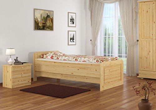 Seniorenbett extra hoch 90x200 Einzelbett Massivholz Kiefer Bett mit Rollrost 60.42-09