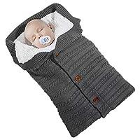 Beinou Baby Sleeping Bag Newborn Swaddle Blanket Warm Knitted Pram Blanket with Fleece Unisex Infant Stroller Wrap Sleeping Sack for 0-12 Month as Baby Shower Gift