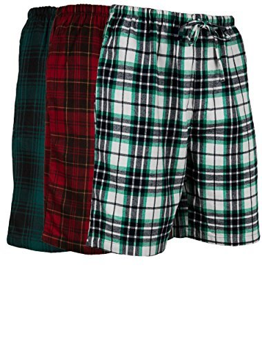 Andrew Scott Herren 3er-Pack leichte Baumwollflanell-Bürste aus weichem Fleece gewebte Pyjama/Lounge-Shorts - Mehrfarbig - Small -