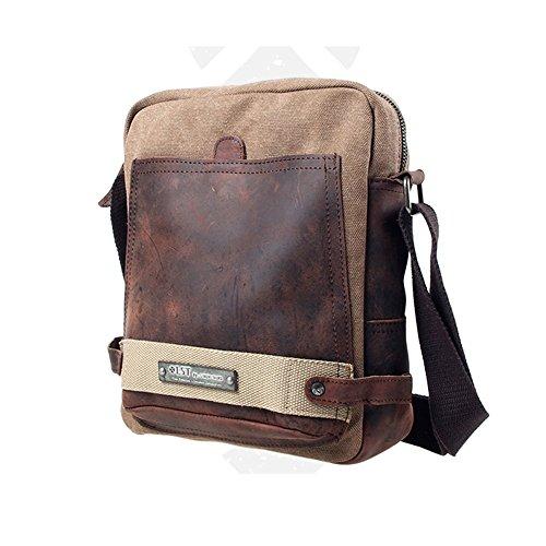YAAGLE Freizeit Herren Taschen Retrotasche Canvas Segeltuch Schultertasche Umhängetasche Gepäck Reisetasche-kaffee kaffee