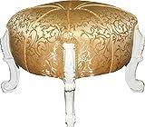 Casa Padrino Barock Sitzhocker- Rundhocker- Gold Muster/ Weiß- Barock Möbel