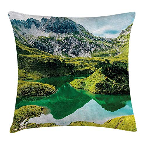 Lake House Decor Throw Pillow Cushion Cover by, Idyllic Crystal Clear Lake with Hills Italian Bavarian Alps National Park View, Decorative Square Accent Pillow Case, 18 X 18 Inches, Green -