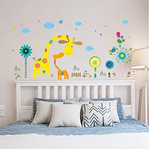 Belle Armoire (Cmdyz Deux Beaux Girrafes Cartoon Stickers Muraux Animaux Arbre Créatif Oiseaux Nuages   Enfants Chambre Chambre Armoire Penderie Diy Autocollants En Vinyle)