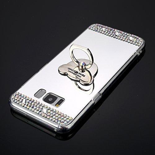 Samsung Galaxy J3 2015 Cover,Samsung Galaxy J3 2015 Custoida,KunyFond Cover Custodia per Samsung Galaxy J3 2015 in Silicone Diamante Bling Glitter Custodia Cover Moda Lusso Placcatura Specchio Scintil argento Orso