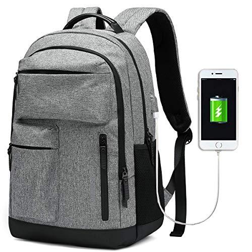 JANSBEN wasserdichte Laptop Rucksack Herren Damen Jungen Schulrucksack mit USB-Anschluss,Uni Casual Business Daypack Reiserucksack für College Schule Reisen Arbeit Camping