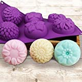 JoyGlobal Silicone 6 Cavity Sunflower Mixed Flower Chrysanthemum Muffin Candle Soap Mould,Multicolour (28x16.5x3cm)