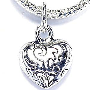 Endearing Charms Charm-Anhänger Herz versilbert für Pandora/Troll Charm-Armbänder und Halsketten