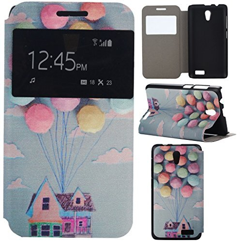 A319 Case Lenovo A319 Case Gift_Source Balloon and House [Slim Fit] Window View PU Leather Case Flip Cover Folio Case for Lenovo A319 Case Sent Stylus Pen  available at amazon for Rs.2399