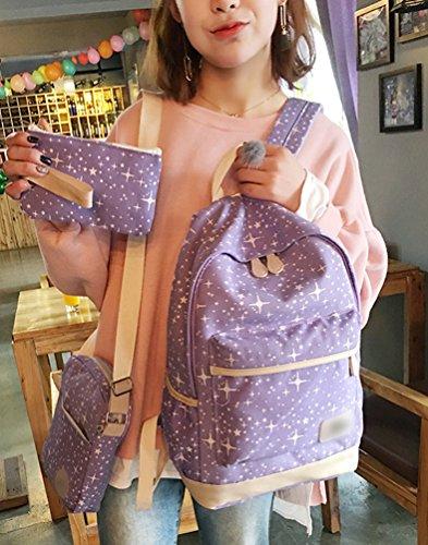 Sentao Retro Schulrucksack Canvas Mädchen/Damen Schul Rucksack Set Schulranzen + Schultertasche / Messenger Bag + Purse Große 3PCS Lila