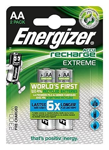 Energizer e300624500NiMH Batterie de Extreme, AA/Mignon/LR6, 2300mAh, rechargeables pré-chargées (Lot de 2)