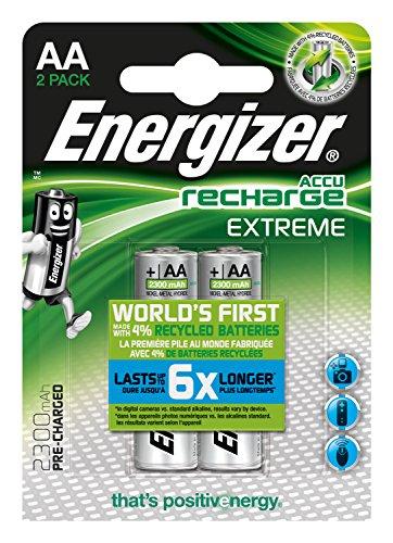 Energizer Accu Recharge Extreme 2300 AA BP2 Níquel metal hidruro 2300mAh 1.2V batería recargable - Batería/Pila recargable (2300 mAh, Níquel metal hidruro, AA, 1,2 V, Plata, 4)