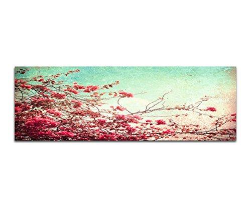 Bilder Wand Bild - Kunstdruck 150x50cm Blumen Zweige Blüten Vintage