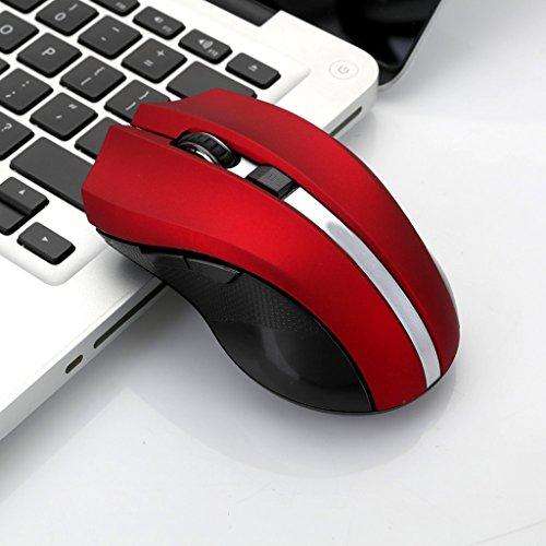 WANG Drahtlose Maus 2.4G USB Tragbare Drahtlose Mäuse Optische PC-Laptop-Computer-Drahtlose Maus mit Nano-Empfänger 5 Knöpfe 3 DPI Glühen mehrfache vorhandene Farben (Farbe : Rot)