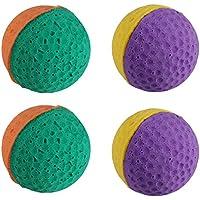 UEETEK - Juego de 4 pelotas de látex para mascotas, juguetes para gatito (color al azar)