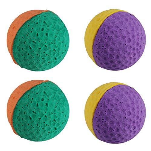 UEETEK 4 Stücke Nette Latex Ball Haustier Spielzeug Schwamm Bälle Kitty Kätzchen Cat Catcher Spielzeug (Gelegentliche Farbe)