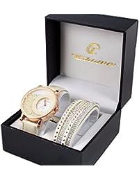 7a8d154d022 coffret montre femme doré cuir blanc cassé strass + bracelet double tour  stardust dolce vita. B01FXWK3TW