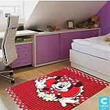 Teppich für Kinder–Disney Minnie Mouse–Größe cm 100x 150–Kurzflor 13mm
